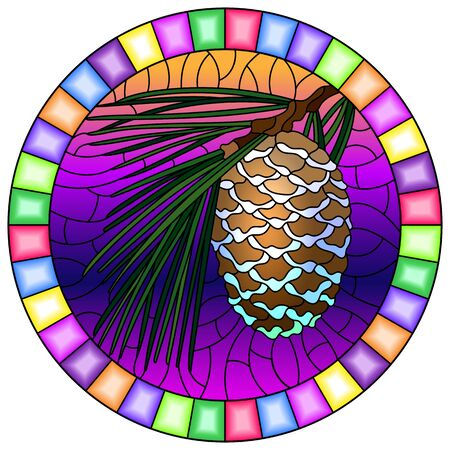 Illustration in stained glass style with cedar cone on a branch on a sky background, round image in bright frame