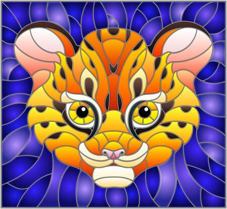 Illustration in stained glass style with baby leopard head on purple background