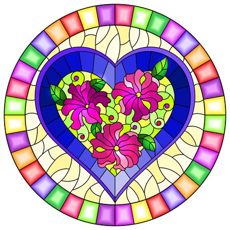 Illustration in stained glass style with bright  blue heart and pink flowers on yellow background, oval image in bright frame Illusztráció