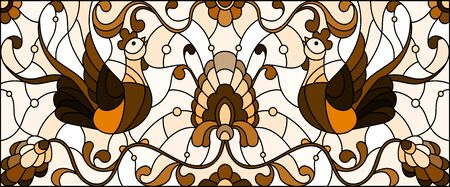 Illustration in stained glass style with a pair of abstract roosters , flowers and patterns on a light background , horizontal image, tone brown