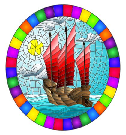 The Eastern ship with red sails on the background of sky, sun and ocean, round image in bright frame