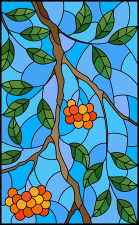 Illustration in stained glass style with a branch of mountain ash, clusters of berries and leaves against the sky