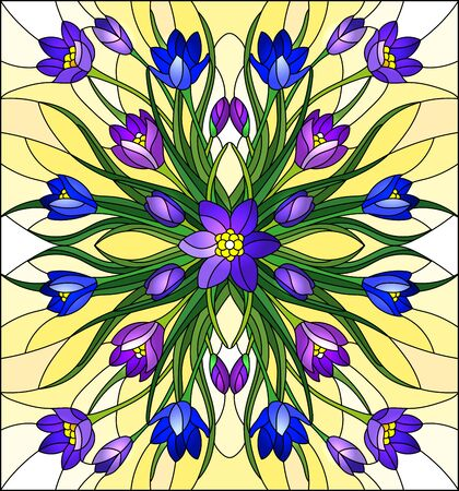 Illustration in stained glass style with floral arrangement, purple and blue Crocuses on a yellow background