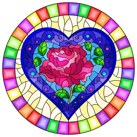 Illustration in stained glass style with bright blue heart and pink rose flower on blue background, oval image in bright frame