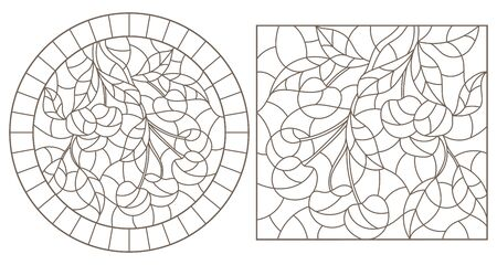 Set contour illustrations of stained glass style with a branch of cherry, dark contour on white background