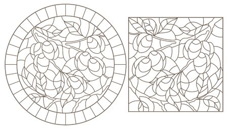 Set contour illustrations of stained glass, the branch of a plum tree with ripe fruits, dark contour on white background