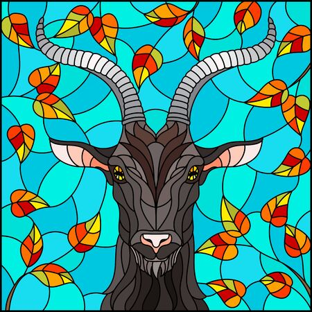 Illustration in stained glass style with goat head,on the background of autumn tree branches and the sky, a rectangular image