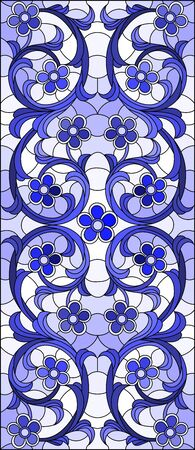 Illustration in stained glass style with abstract flowers, swirls and leaves  on a light background,horizontal blue tone Illusztráció