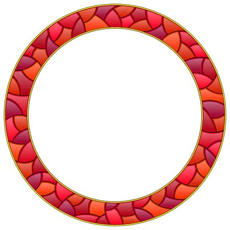 Illustration in stained glass style with bright round frame, red frame isolated on white background