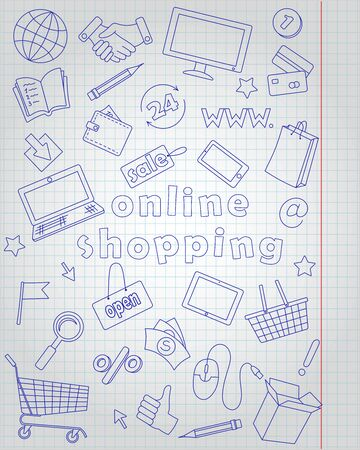 Icons set  on the subject  of online shopping and Internet shops, blue  contour  icons on the clean writing-book sheet in a cage 일러스트