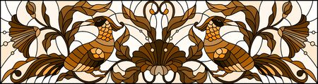 Illustration in stained glass style with a pair of abstract birds , flowers and patterns on a light background , horizontal image, tone brown