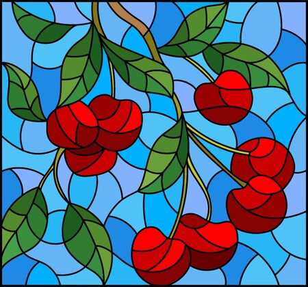 Illustration in the style of a stained glass window with the branches of cherry  tree , the  branches, leaves and berries against the skyy