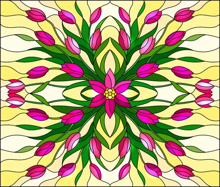 Illustration in stained glass style with floral arrangement, pink tulips on a yellow background