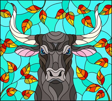 Illustration in stained glass style with bull head,on the background of autumn tree branches and the sky, a rectangular image