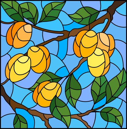 Illustration in the style of a stained glass window with the branches of apricot  tree , the  branches, leaves and fruits against the sky