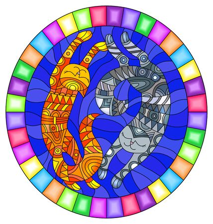 Illustration in stained glass style with a pair of abstract geometric  cats on a blue background, oval image in a bright frame