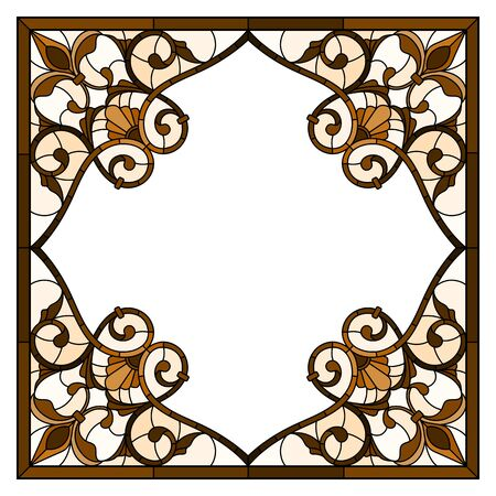 Illustration in stained glass style flower frame,  flowers and  leaves in frame, tone brown, sepia Zdjęcie Seryjne - 133856167