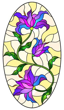 Illustration in stained glass style with a purple Lily flower on a yellow background, oval image Illusztráció
