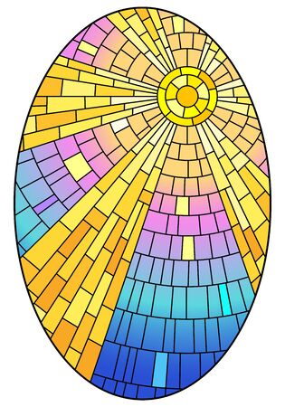 Illustration in stained glass style with abstract celestial landscape, sun with rays against the sky, oval image