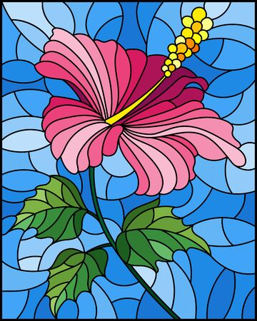 Illustration in stained glass style with flower, buds and leaves of pink hibiscus on sky background
