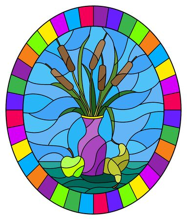 Illustration in stained glass style with bouquets of bulrush  in a brown vase , pears and apples on table on blue background, oval image in bright frame