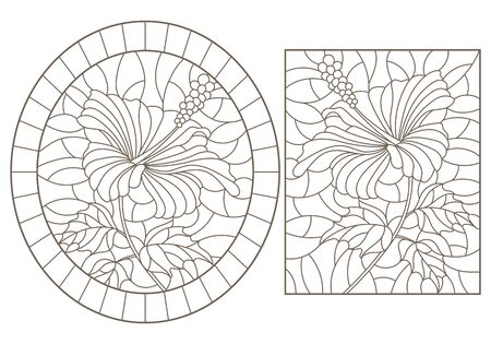 Set of contour illustrations of stained glass Windows with hibiscus flowers, dark outlines on a white background Illusztráció