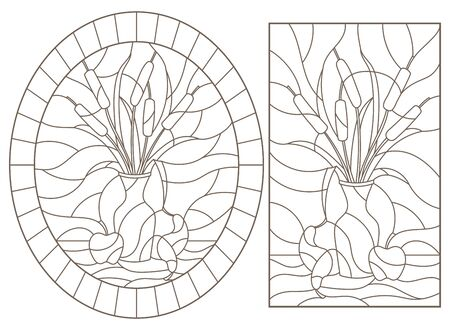 Set of contour illustrations of stained glass Windows with still lifes, vase with reeds and fruit, dark outlines on a white background