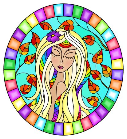 The illustration in stained glass style painting with a girl with blond hair and autumn tree branches on background of blue sky, oval image in bright frame Illustration