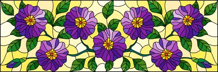 Illustration in stained glass style with floral arrangement of flowers, purple flowers and leaves on a yellow background Illusztráció