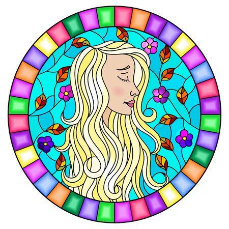 The illustration in stained glass style painting with a girl with blond hair, flowers and autumn tree branches on background of blue sky, oval image in bright frame