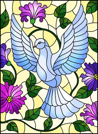 Illustration in stained glass style with flying white dove on yellow background with purple flowers