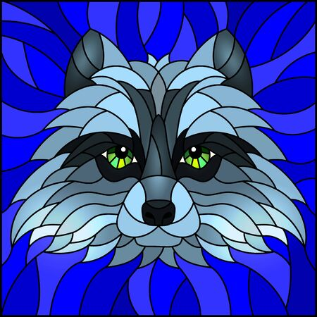 The illustration in stained glass style painting with a raccoon head , on blue background, square image Ilustrace