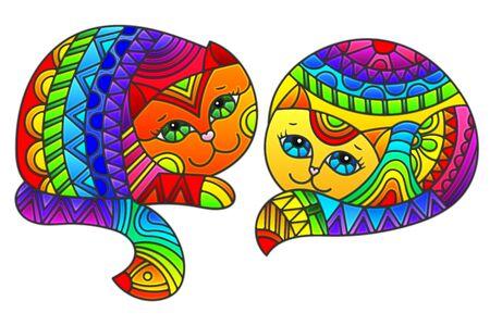Set di elementi in vetro colorato con gatti arcobaleno, immagini isolate su sfondo bianco