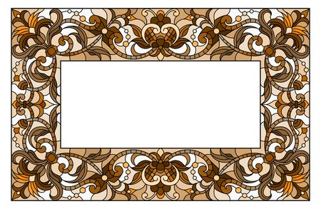 Illustration in stained glass style flower frame, flowers and leaves in frame, tone brown, sepia