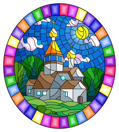 Illustration in stained glass style with Church on the background of summer landscape, a Church on the background of the Sunny sky and green trees, oval image in bright frame  Illusztráció
