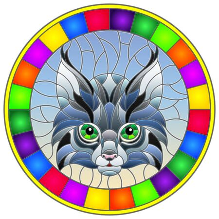 The illustration in stained glass style painting with a lynxs head on a blue background, round image in bright frame
