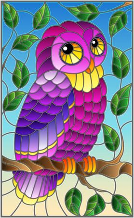 Illustration in stained glass style with fabulous purple owl sitting on a tree branch against the sky Illustration
