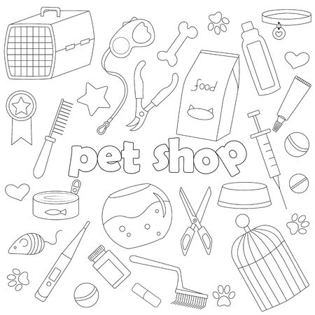 Icons set  on the subject of veterinary science and Pets, simple dark hand drawn icons on white background
