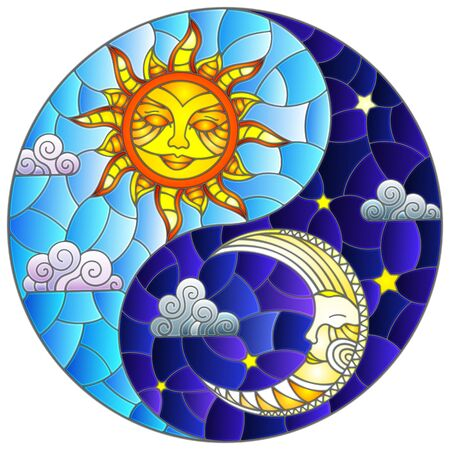 Illustration with sun and moon on sky background in the form of Yin Yang sign, circular image Ilustracja