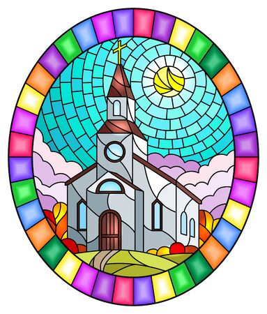 Illustration in stained glass style with Church on the background of autum landscape, a Church on the background of the Sunny sky and green trees, oval image in bright frame