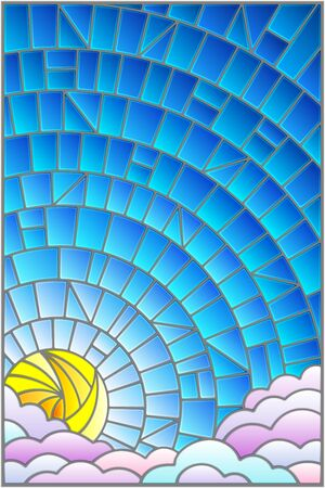 Illustration in stained glass style sun and clouds on blue sky background