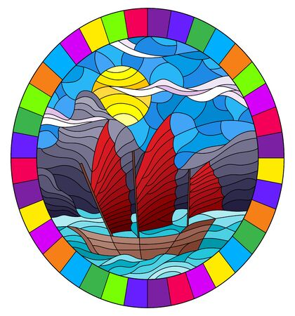 Illustration in stained glass style with the Eastern ship with red sails on the background of sky, sun and rocky shores Stock Illustratie
