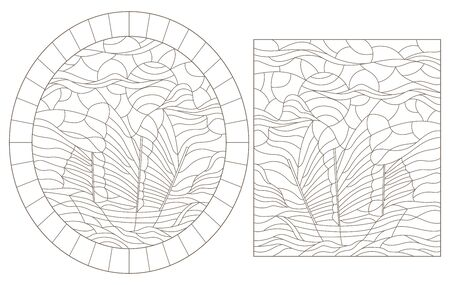 Set of contour illustrations with sailing ships, dark contours on a white background