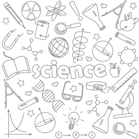 Icons set of contour icons on the subject of education and science, dark contour icons on white background