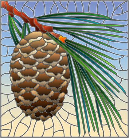 Illustration in stained glass style with cedar cone on a branch on a blue background