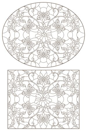 Set of contour illustrations of stained-glass Windows with flowers and butterflies,  darrk contour on white background