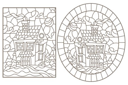 Set contour illustrations of the stained glass Windows with the village houses in the background of a winter landscape,dark contours on white background