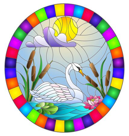 Illustration in stained glass style with Swan , Lotus flowers and reeds on a pond in the sun, sky and clouds, oval image in bright frame