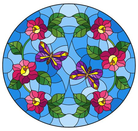Illustration in stained glass style with abstract curly pink flower and a purple butterfly on blue background , oval image