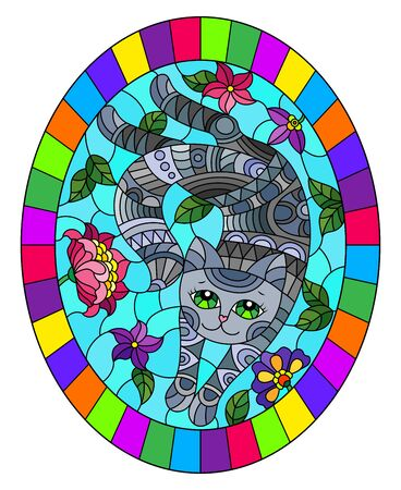 Illustration in stained glass style with a cute grey cat on a background of meadows and bright flowers ,oval image in bright frame